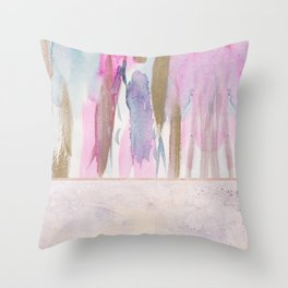 Rose Blush, Dreamy Pink And Blue Modern Abstract Art Throw Pillow