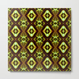 Bright Green Brown Diamond Pattern Metal Print