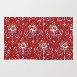 Red Vintage Flowers Rug