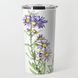 Purple Aster Wildflowers Travel Mug