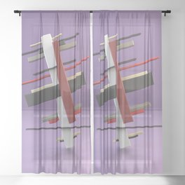 Constructivism & Suprematism in the style of Ilya Chashnik (3 of 9) Sheer Curtain