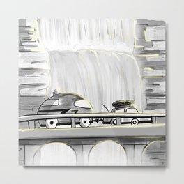 Camping Sunset Waterfall on a Mountain Road - Van Life - Travel Inspiration Metal Print