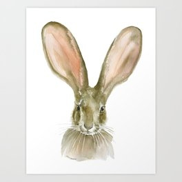 Jack Rabbit Watercolor Art Print