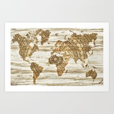 World map of wood Art Print