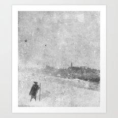 Edinburgh in snow Art Print