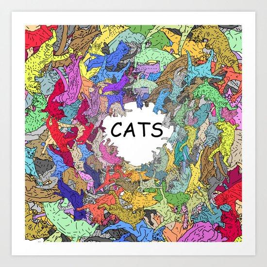Colorful Rainbow Cats Art Print