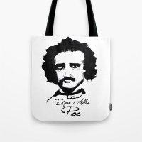 edgar allan poe Tote Bags featuring Edgar Allan Poe  by SINPE