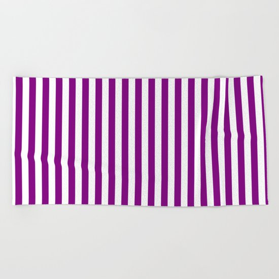 Vertical Stripes (Purple/White) Beach Towel