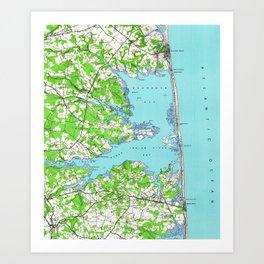 Vintage Rehoboth & Bethany Beach DE Map (1938) Art Print