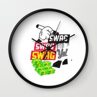 swag Wall Clocks featuring SWAG by Mr. Magenta