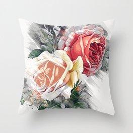rose skecth pencil color Throw Pillow