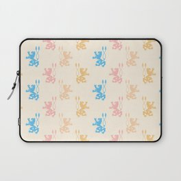 Vintage chic pink blue yellow lions damask pattern Laptop Sleeve