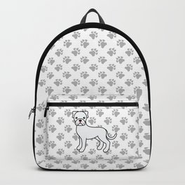 Cute White Boxer Dog Cartoon Illustration Backpack