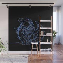 Swan 1. Light blue on Black background-(Red eyes series) Wall Mural
