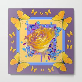 YELLOW BUTTERFLIES ART ROSE FLOWERS PUCE Metal Print