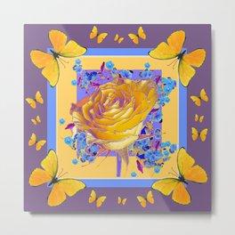 YELLOW BUTTERFLIES ART ROSE FLOWERS PUCE Metal Print
