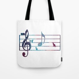 Musical Note With Cats Tote Bag