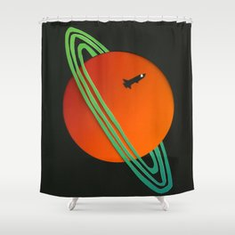 Planetary Flyby Shower Curtain