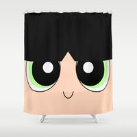 powerpuff girls Shower Curtains featuring Buttercup -The Powerpuff Girls- by CartoonMeeting