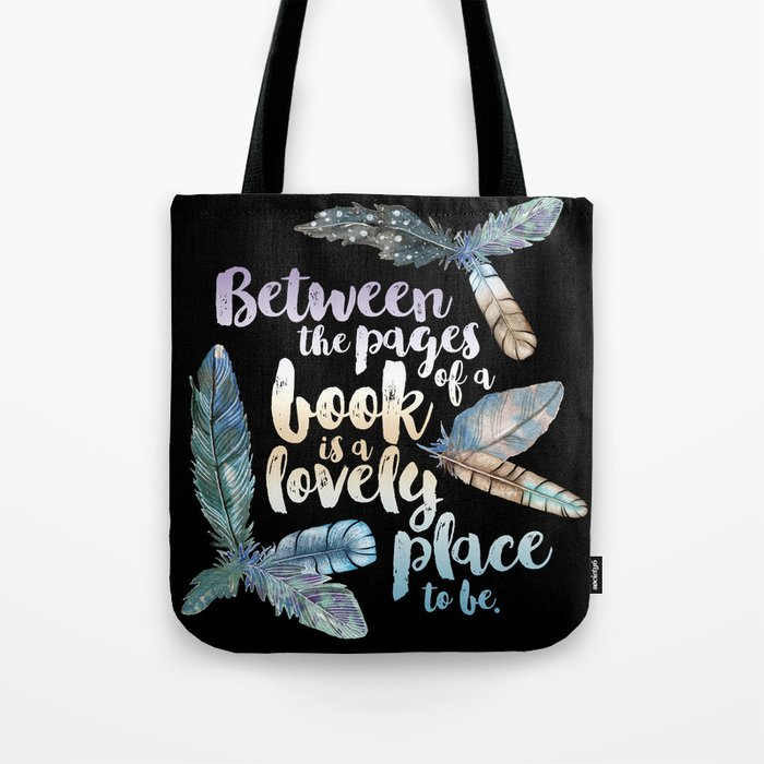 Between The Pages - Feathery Black Tote Bag