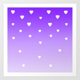 Purple Ombre with White Hearts Art Print