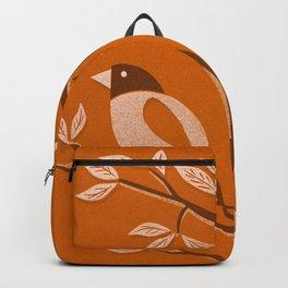 Burnt Orange Mid Century Birds On Branches Backpack