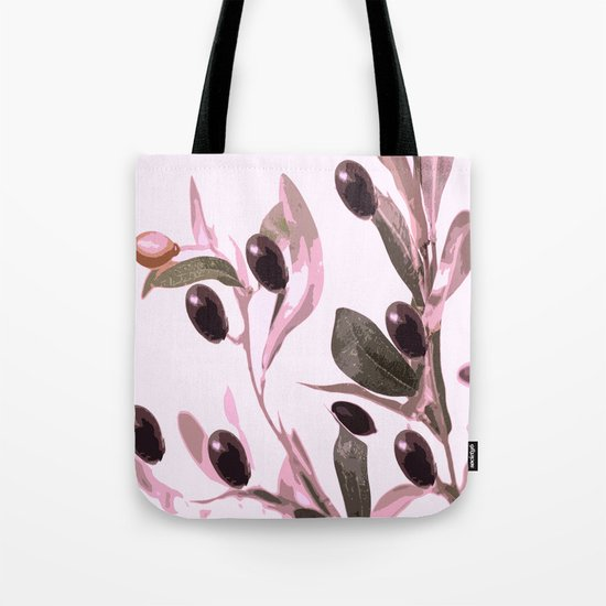 Olive tree branch with pink tones on white background Tote Bag