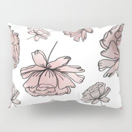 Hand Drawn Peonies Dusty Rose Pillow Sham