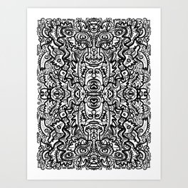 Graffiti Mandala Black and White Sacred Art  Art Print
