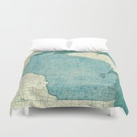 wisconsin Duvet Covers featuring Wisconsin State Map Blue Vintage by City Art Posters