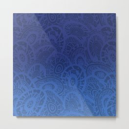 Indigo Zentangle Metal Print
