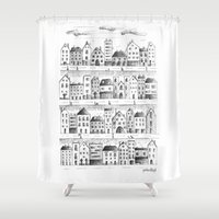 baloon Shower Curtains featuring Cityscape from baloon flight by posterilla