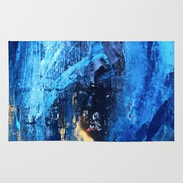 Vortex: a vibrant, blue and gold abstract mixed-media piece Rug