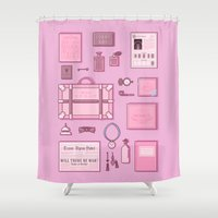 budapest hotel Shower Curtains featuring Grand Budapest Items by M. Gulin