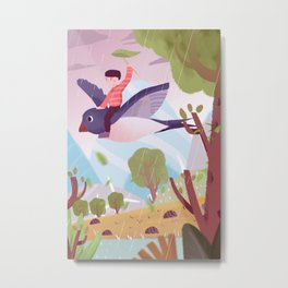 Fly Bird And Children Metal Print