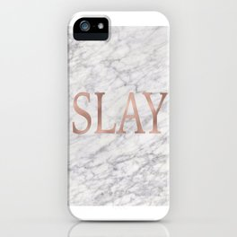 Slay rose gold marble iPhone Case
