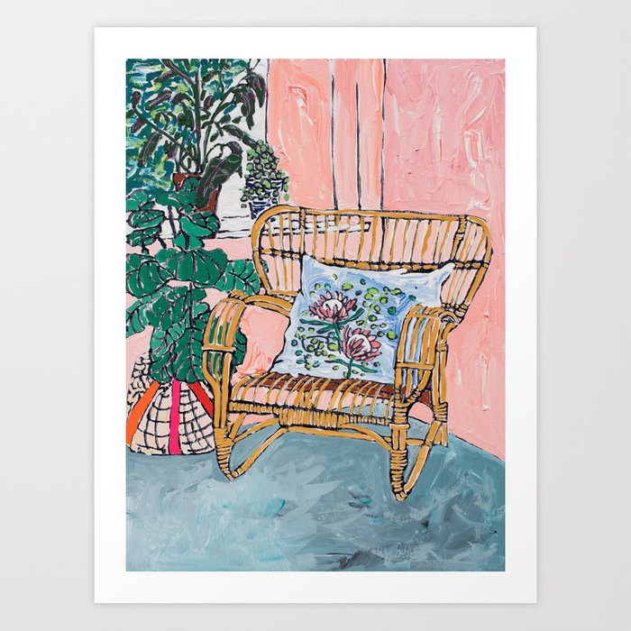 Cane Chair After David Hockney Art Print