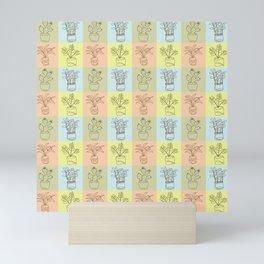 Pale house plants in squares  Mini Art Print