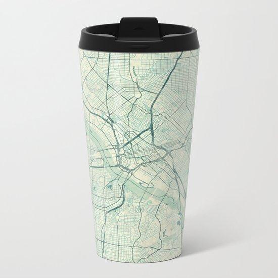 Dallas Map Blue Vintage Metal Travel Mug