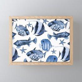Fish Underwater Watercolor Pattern Framed Mini Art Print