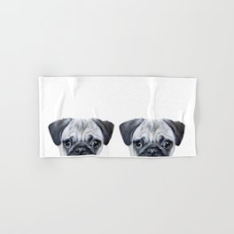 pug Dog illustration original painting print Hand & Bath Towel