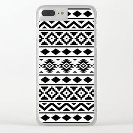Aztec Essence Ptn III Black on White Clear iPhone Case