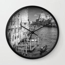 VENICE Canal Grande & Santa Maria della Salute | Monochrome Wall Clock