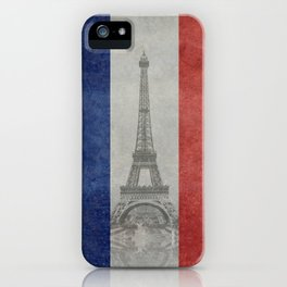 Flag of France with Eiffel Tower iPhone Case
