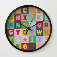 alphabet Wall Clocks featuring Alphabet by Project M