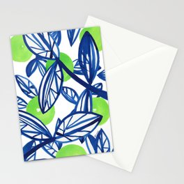 Blue and lime green abstract apple tree Stationery Cards