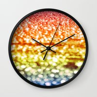 glitter Wall Clocks featuring Rainbow Glitter Sparkles by WhimsyRomance&Fun