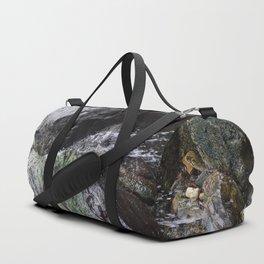 Cornish Waterfall Over Mossy Cliff Duffle Bag
