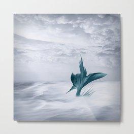 Mermaids Surfing the Ocean Waves, Teal and Gray Illustration Metal Print