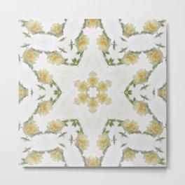 Creamy Yellow Rose Kaleidoscope Art 2 Metal Print